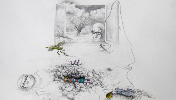 The view within 2011, 56x76.5cm, pencil & oil on paper