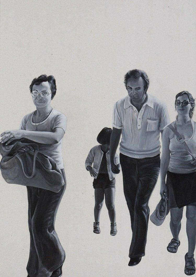 The walk (Me, my parents and me)  2008, 24.2x34.2cm, acrylic on cardboard